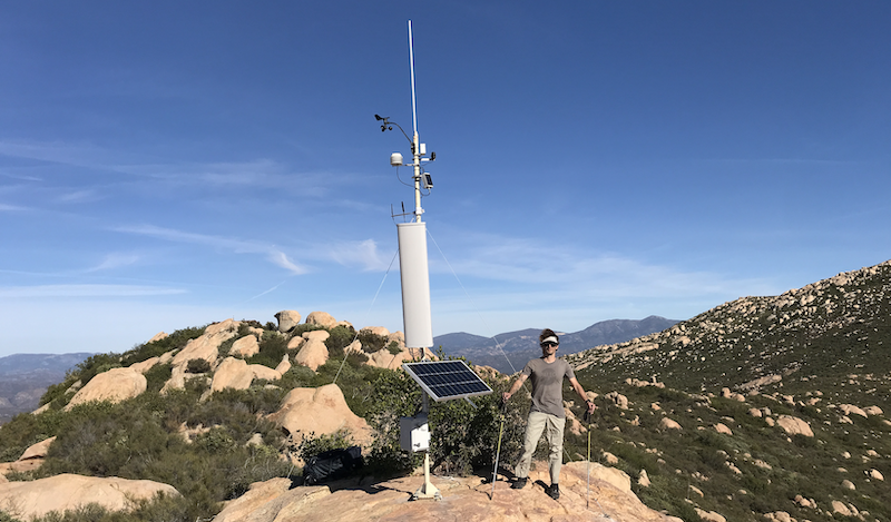 High Mountain antenna placement for Helium in the backcountry of San Diego